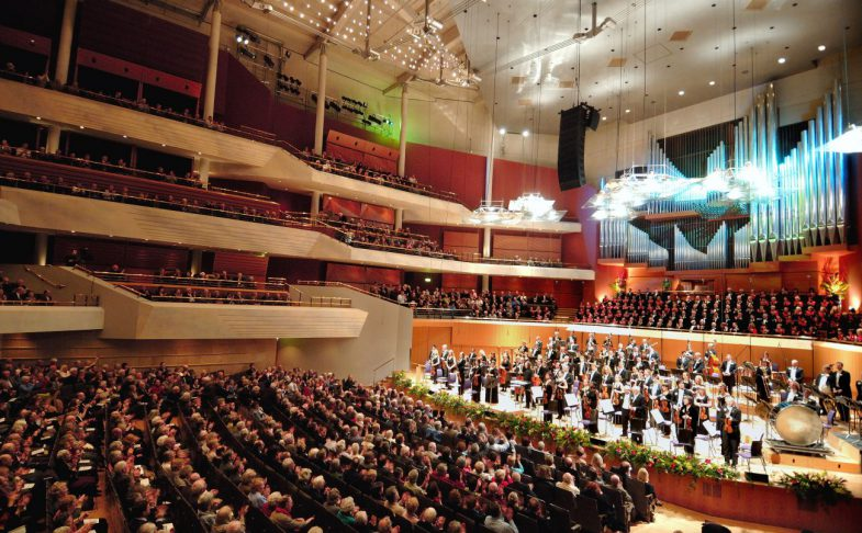 The seats and stage in The Bridgewater Hall