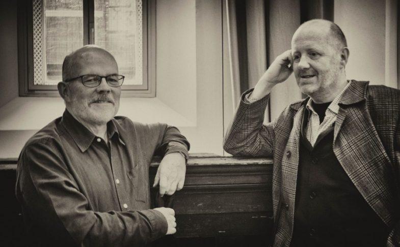 Carcanet exhibition: Carcanet poets Michael Schmidt and Michael Symmons Roberts.